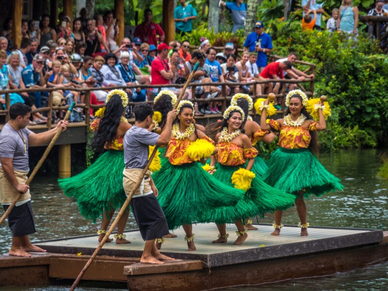 Huki canoe pageant at Polynesian Cultural center, one of the top things to do on Oahu, Hawaii