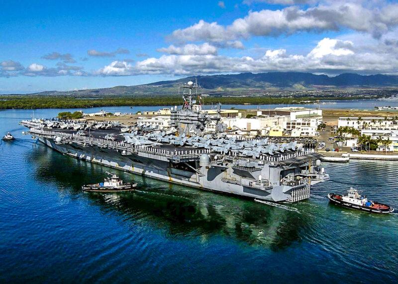 Battleship USS Missouri (Mighty Mo) at Pearl Harbor, Oahu, Hawaii
