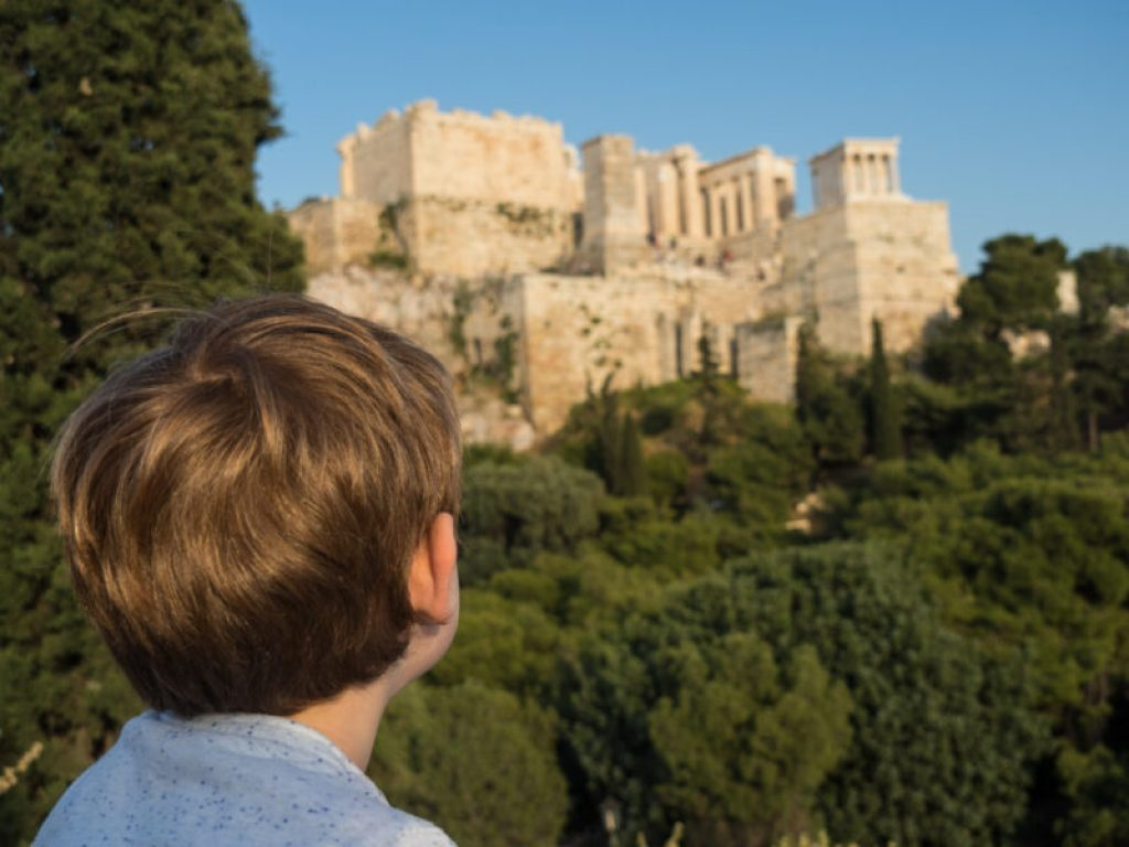 In front of the Acropolis in Greece - the best things to do in Athens with kids