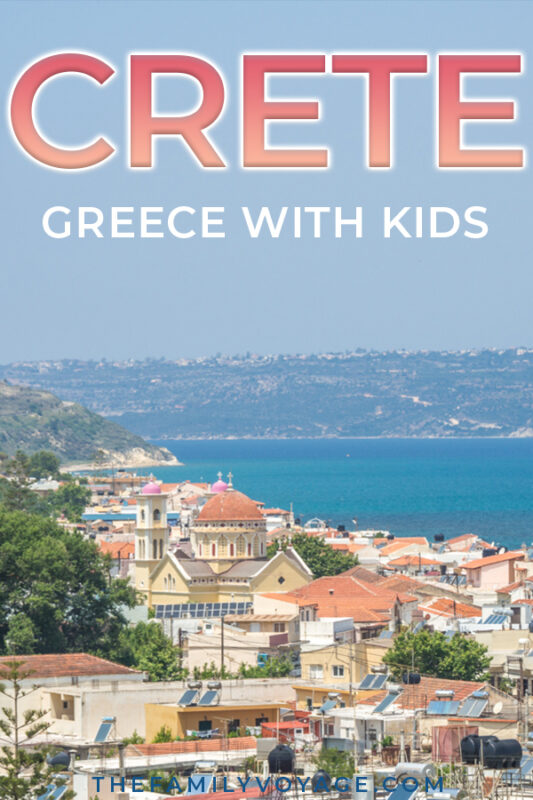 Are you looking for an easy Greece family vacation? Plan on visiting Crete with the kids! There are so many things to do on Crete from ancient Greek ruins to beautiful beaches on the Mediterranean. You'll find everything you need to know for your family visit to Heraklion, Chania and points in between. Read now and SAVE for later! #Greece #Crete #Heraklion #Chania #familytravel #travel