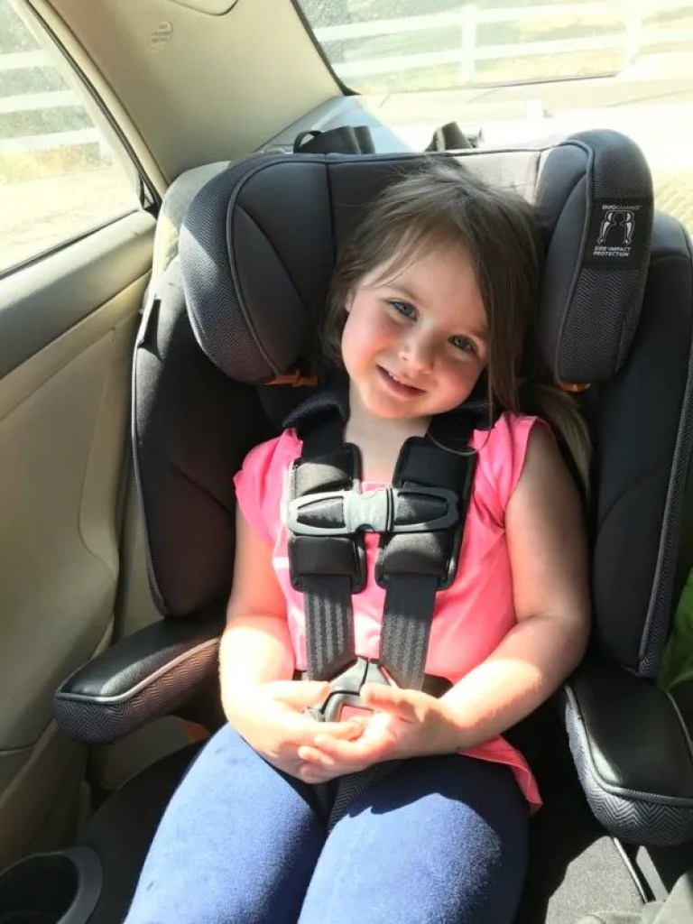 The Chicco Myfit is the best high back booster seat with harness for long drives thanks to its great comfort features