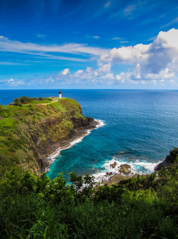 Beautiful seascape view of the Kilauea Lighthouse on the north coast of Kauai, Hawaii