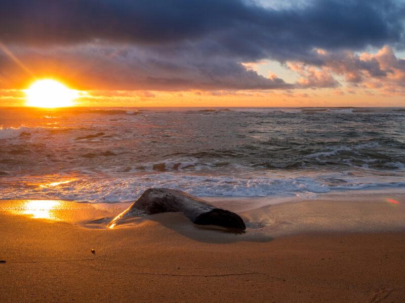 Sunrise at Lydgate Beach Park in Lihue, Kauai, Hawaii