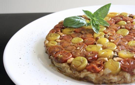 Tomato and caramelised onion Tarte Tatin