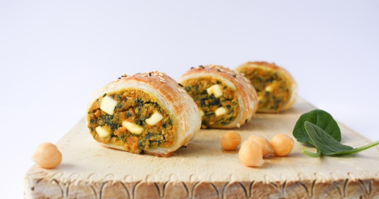 Spinach, chickpea and sweet potato sausage rolls