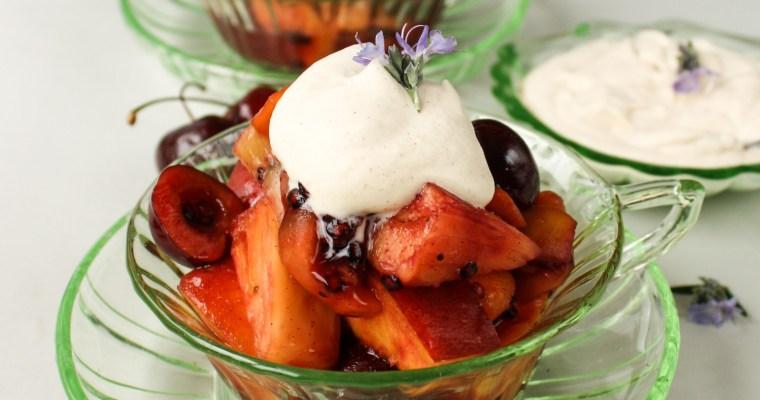 Warm fruit salad with maple cinnamon cream