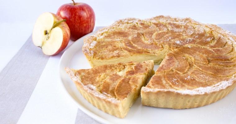 Baked custard tart with spiced apple