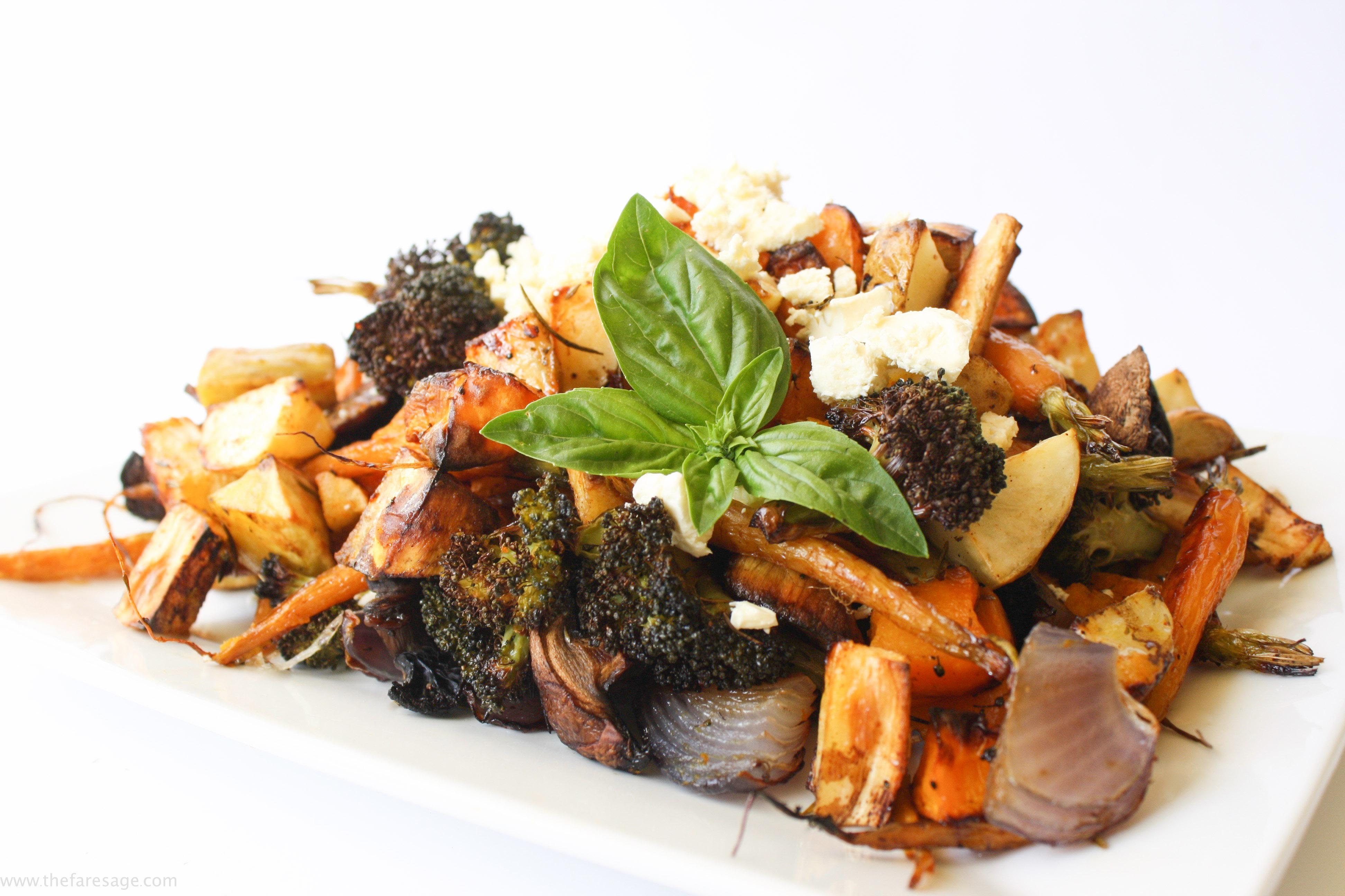 Roasted vegetable salad with feta