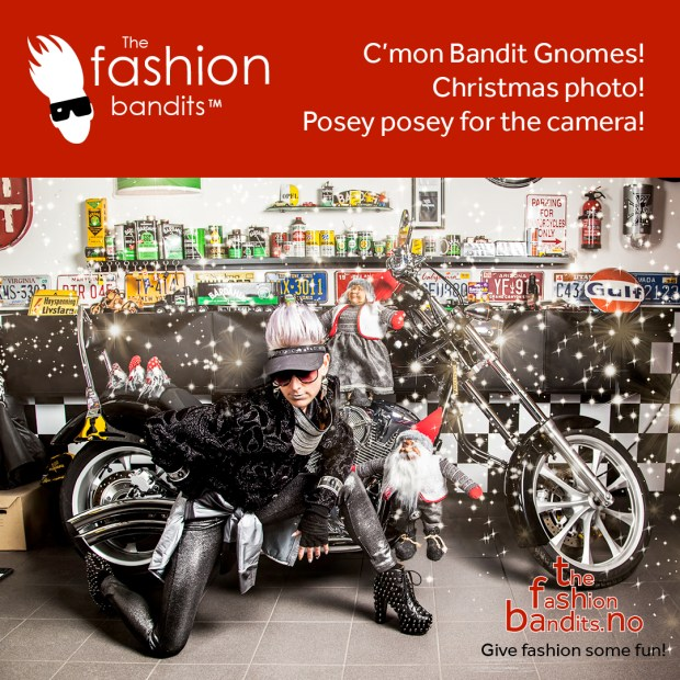 The Fashion Bandits Benedikte St.Pierre is posing with Christmas Gnomes by a very sleek looking motorbike...