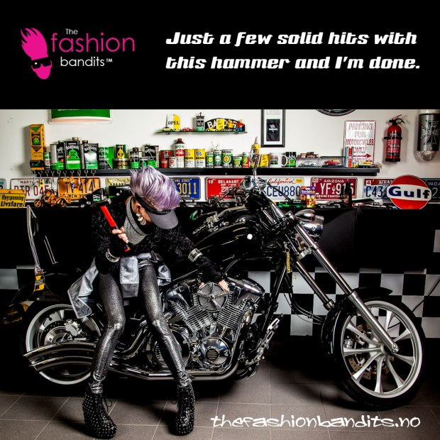 The Fashion Bandits Benedikte St.Pierre is happily hammering away on her classy motorbike...