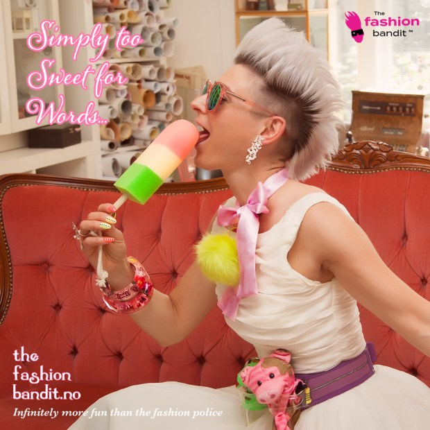 The Fasion Bandit Benedikte St.Pierre is sweetly licking an ice cream lolly...