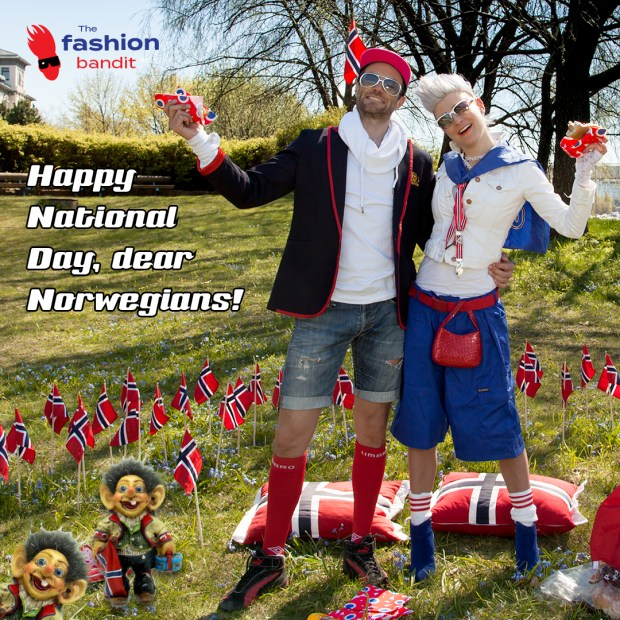 Happy National Day, all Norwegians! From The Fashion Bandit Benedikte St.Pierre and The Flying Bandit Alf-Ole Føre