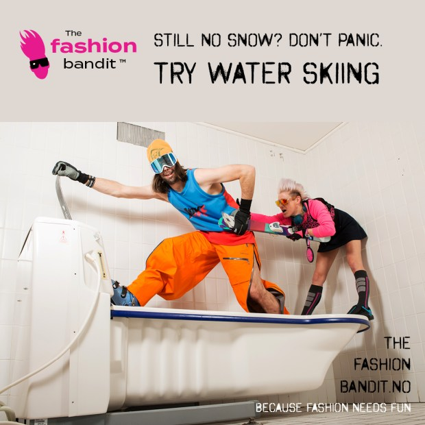 the Fashion Bandit Benedikte St.Pierre and Arctic Skier Bandit Sindre Solvin are skiing in a bathtub