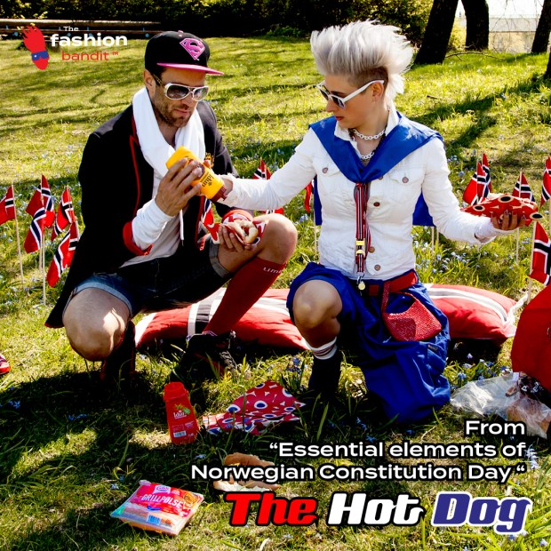The Fashion Bandit Benedikte St.Pierre and Flying Bandit Alf-Ole Føre are having hot dogs in the park for Constitution Day