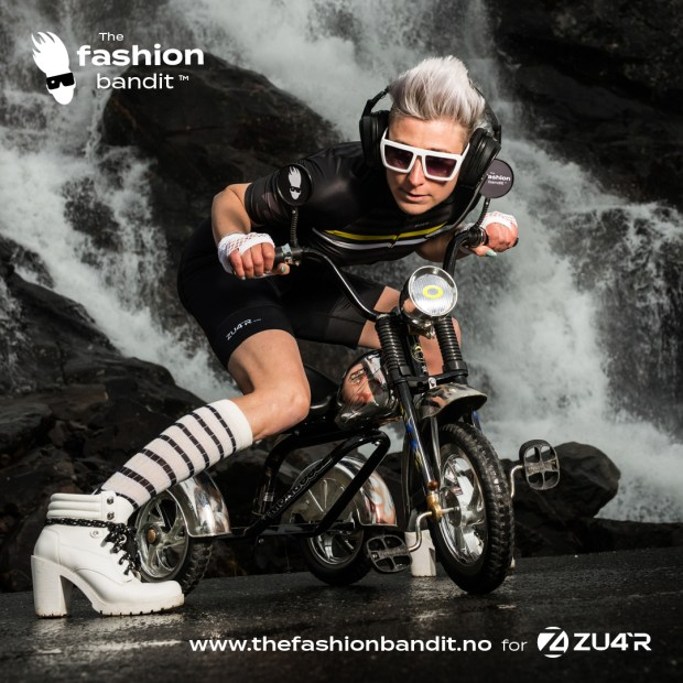 The Fashion Bandit Benedikte St.Pierre looking cooool on a tricycle.