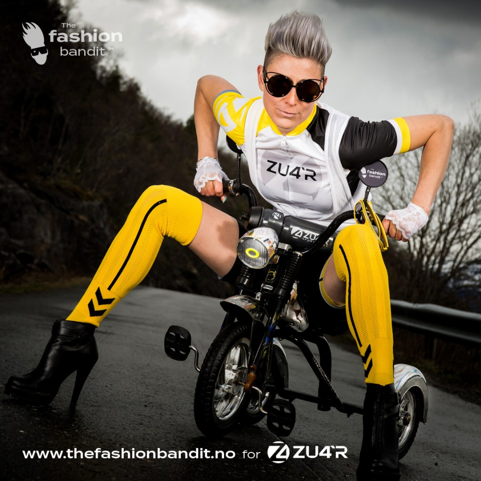 The Fashion Bandit Benedikte St.Pierre on a tricycle.