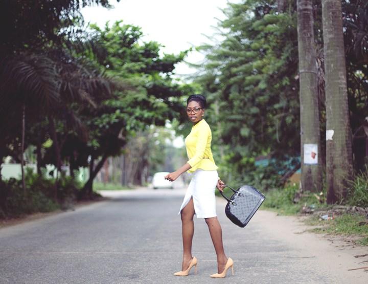 TFE X Konga: Neon Peplum Jacket x Le Rouge Midi Skirt