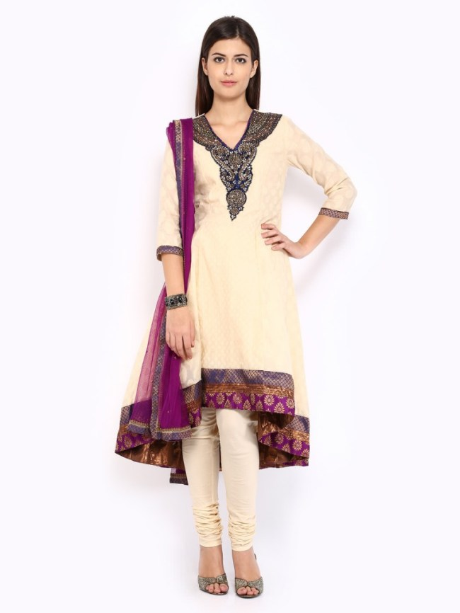BIBA Women Beige Churidar Kurta with Dupatta