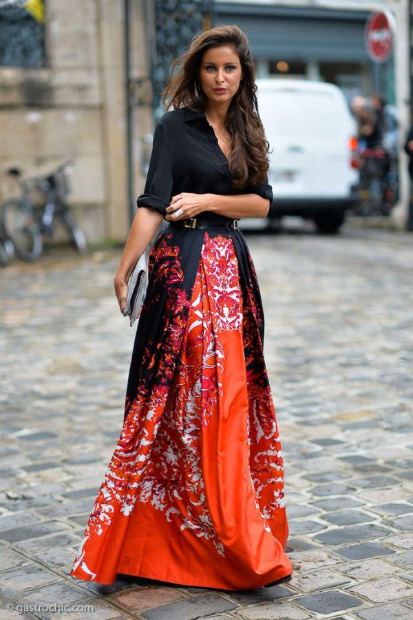 Orange Maxi Skirt