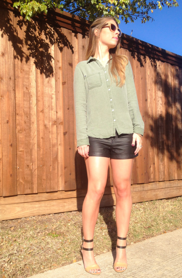 Army Green Shirt Leather Shorts