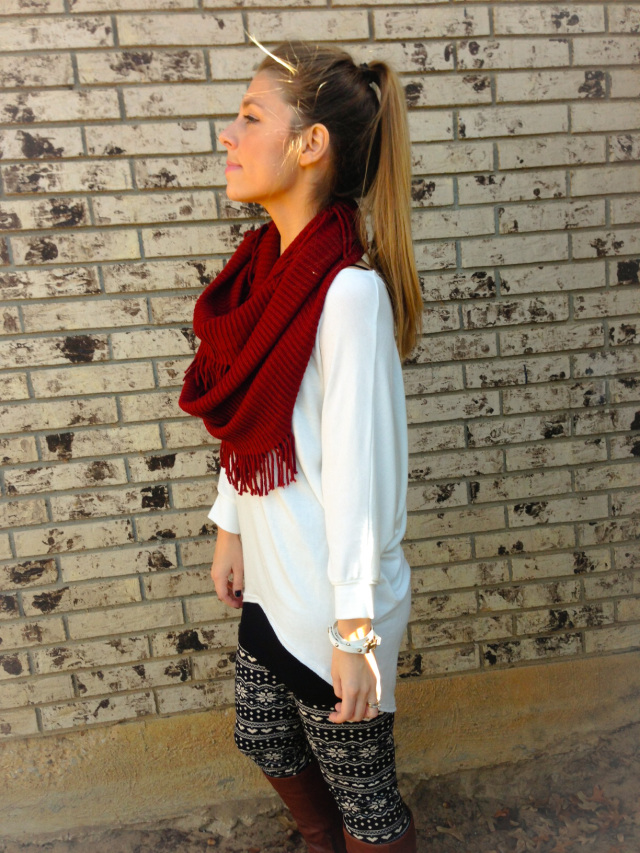 White Top Fringe Scarf