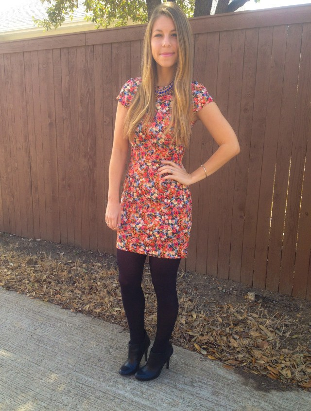 Zara Floral Print Dress with Tights