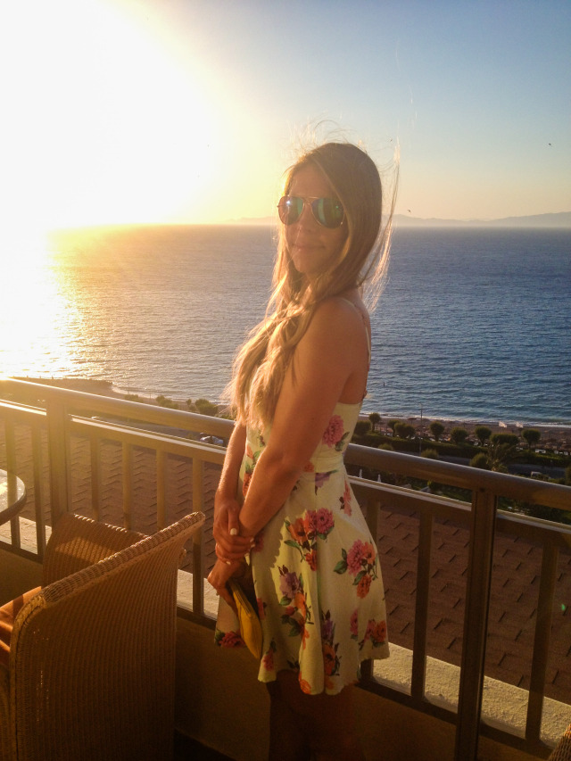 Floral Dress Blue Sunglasses Sunset in Greece