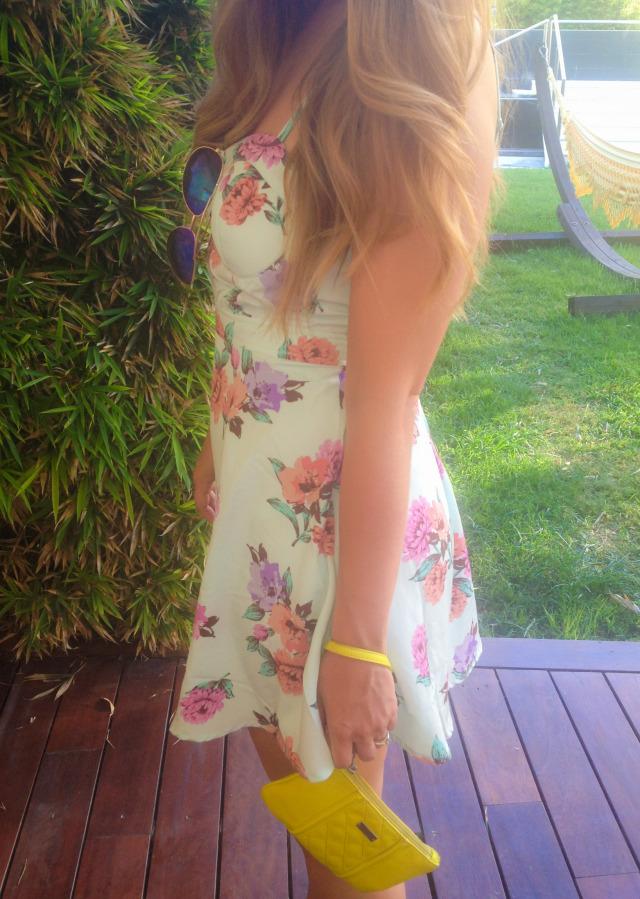 TJ Maxx Floral Dress, Mirrored Aviators, Express Clutch