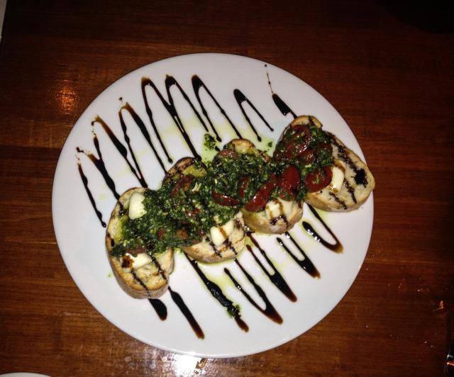 Tomato Bruschetta with Basil Pesto- MY FAVORITE! MUST ORDER!