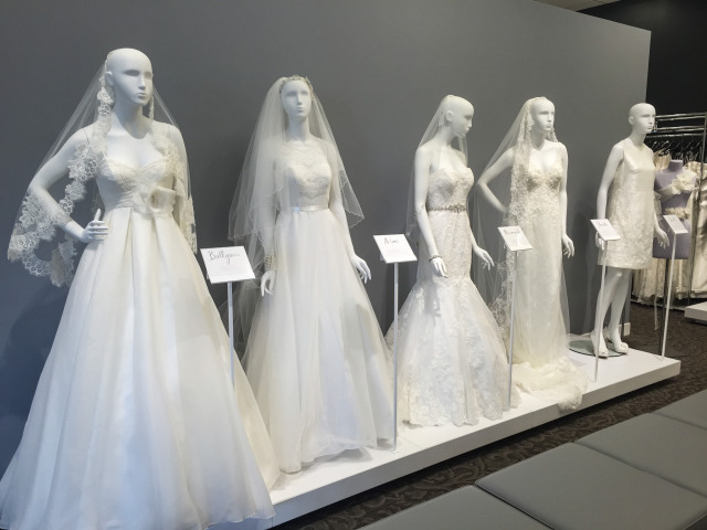 A display of gowns showing the different silhouette options.