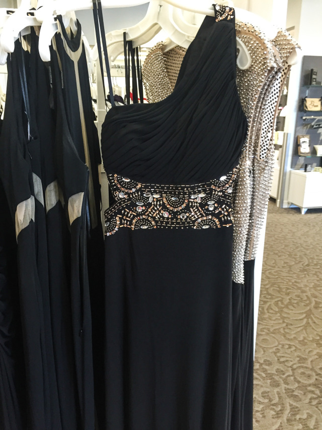 One shoulder Beaded Black Gown