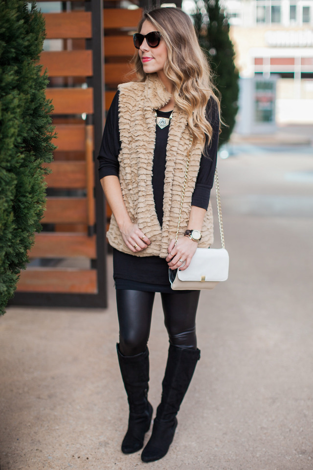 Betsy Johnson Faux Fur Vest and Leggings