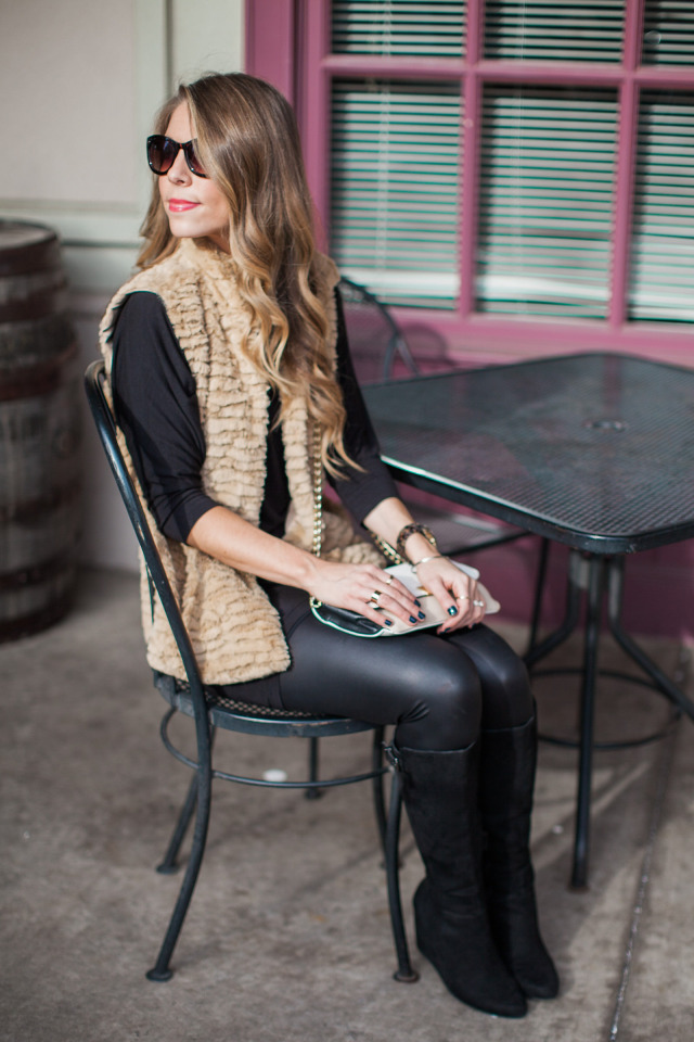 Black Shirt and leather leggings with vest