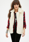 Forever 21 Cream Faux Fur Vest