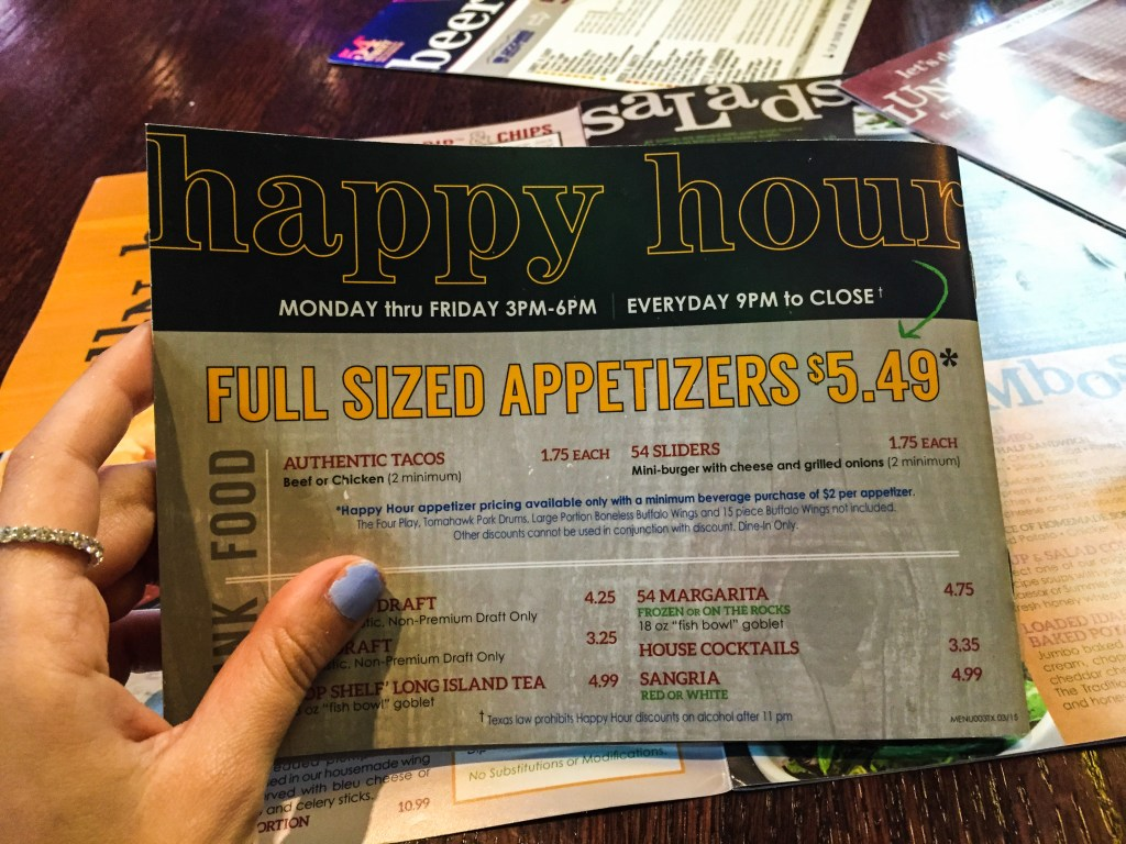 54th Street Grill Happy Hour Menu