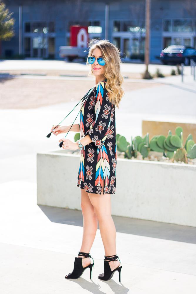 tribal-print-tassel-dress