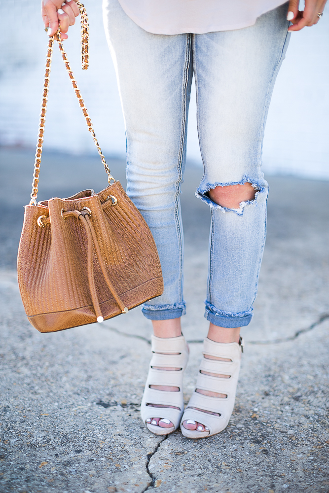 Brown Leather Bucket Bag with Gold Chain
