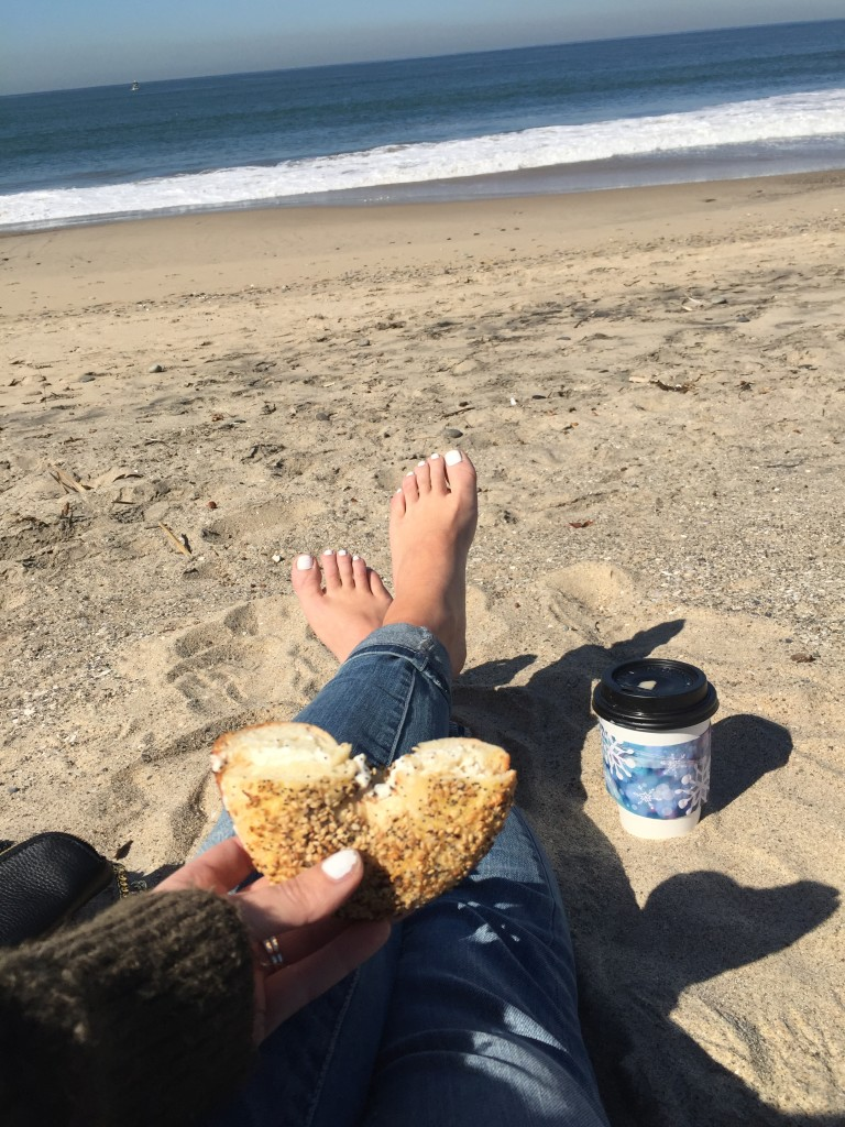Beachside coffee and bagel