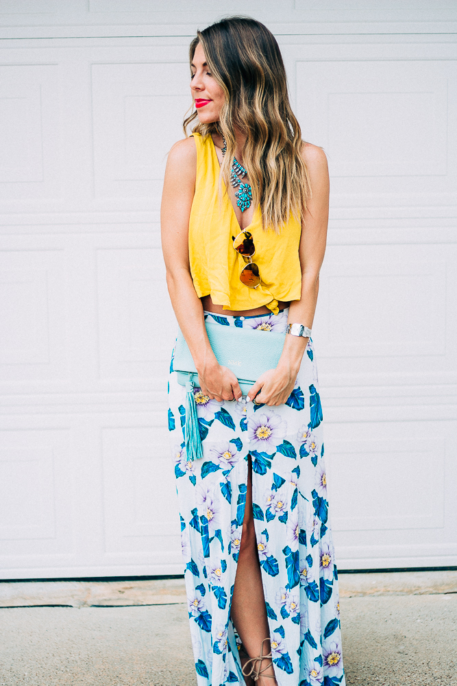 Tropical Maxi Skirt with Crop Top