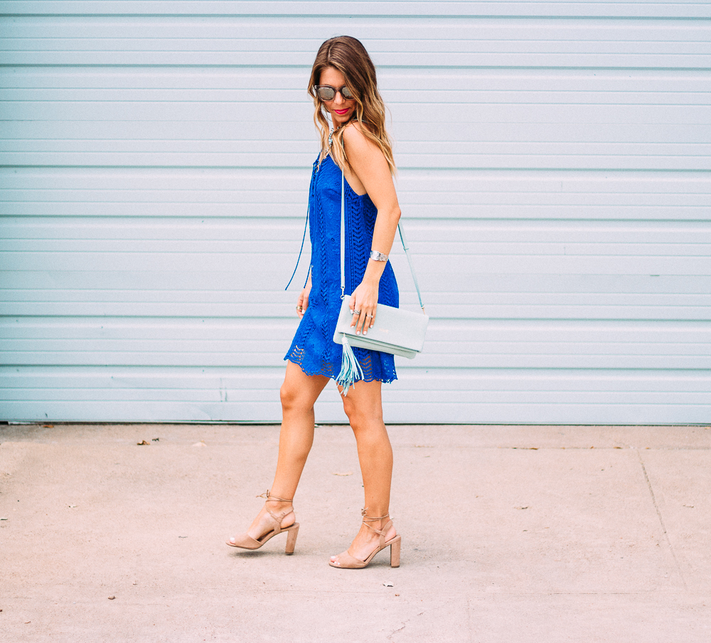 Blue Lace-Up Shift Dress