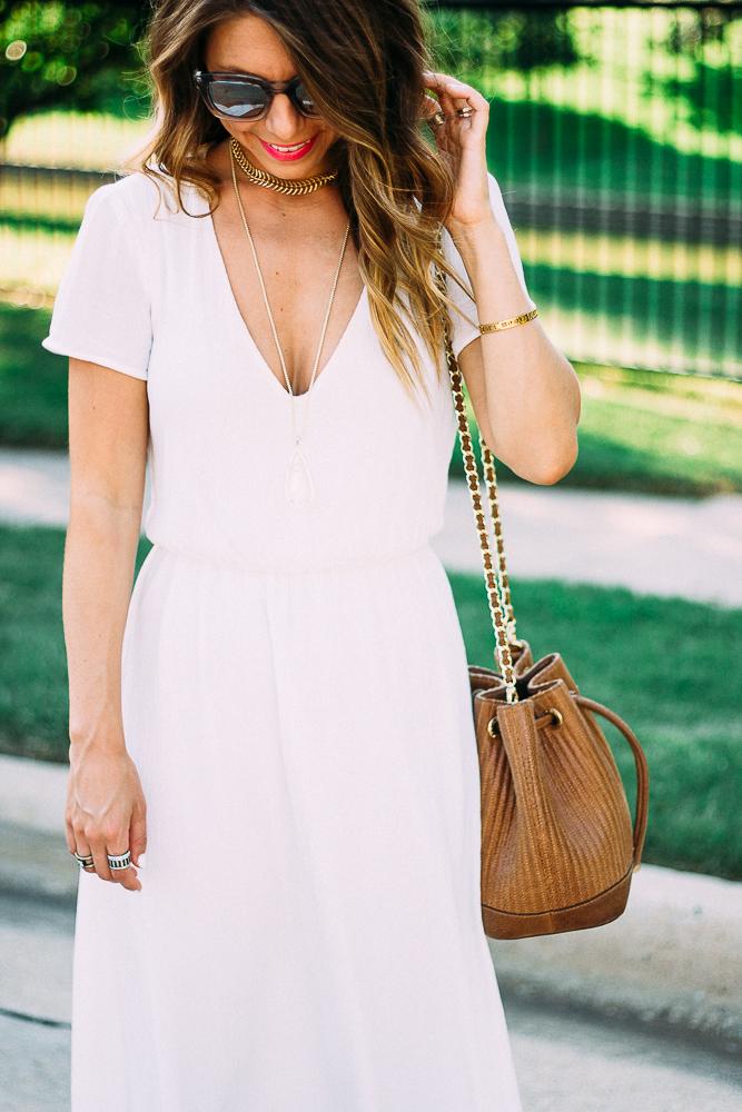 White Blouson Midi Dress