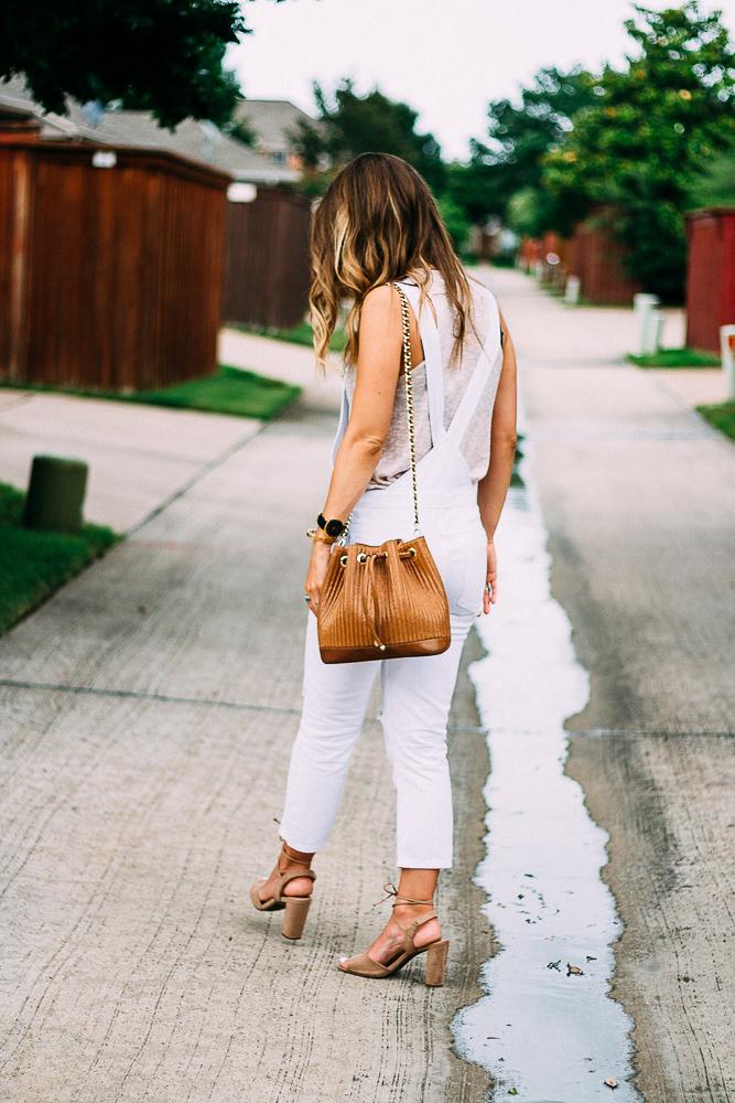 white denim skinny overalls