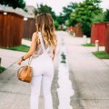 white denim skinny overalls