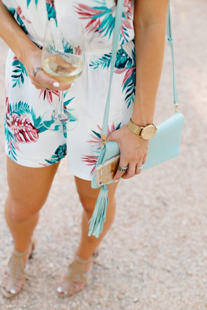 Tropical Print Romper and Tassel Clutch