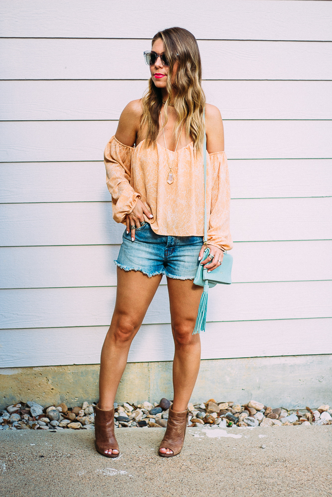 long sleeve off the shoulder top with shorts