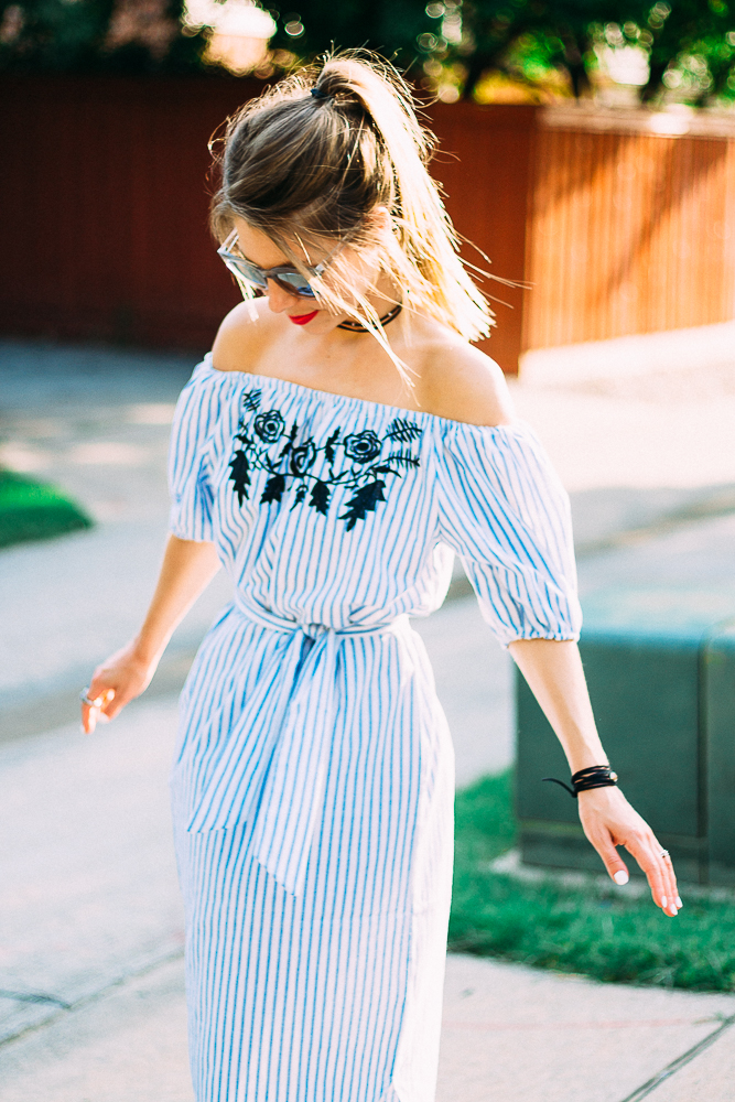 off the shoulder striped embroidered dress