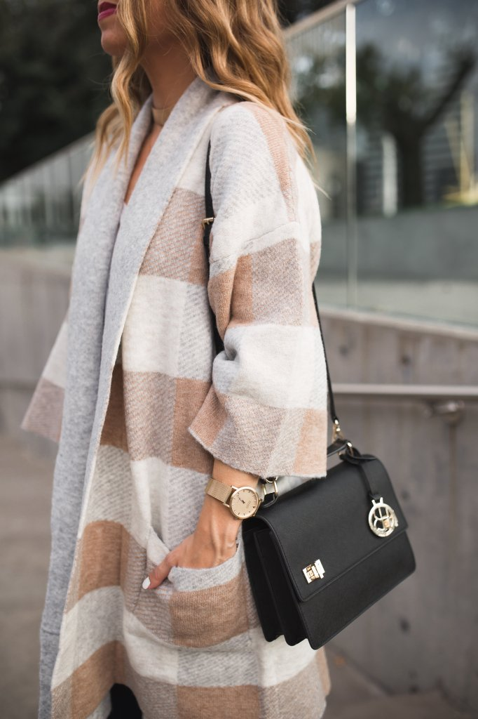 Checkered Oversized Cardigan