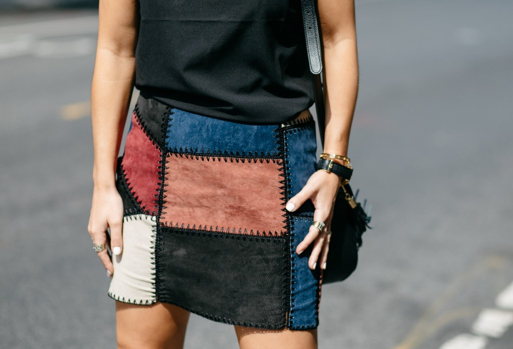 trendy transitional piece for fall faux suede skirt