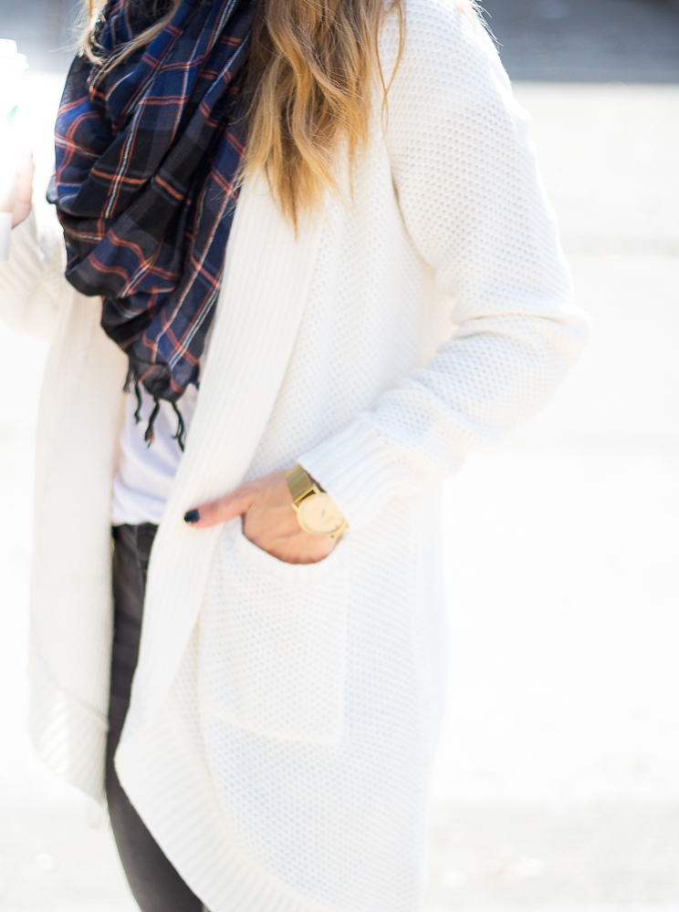 cocoon cardigan and plaid infinity scarf