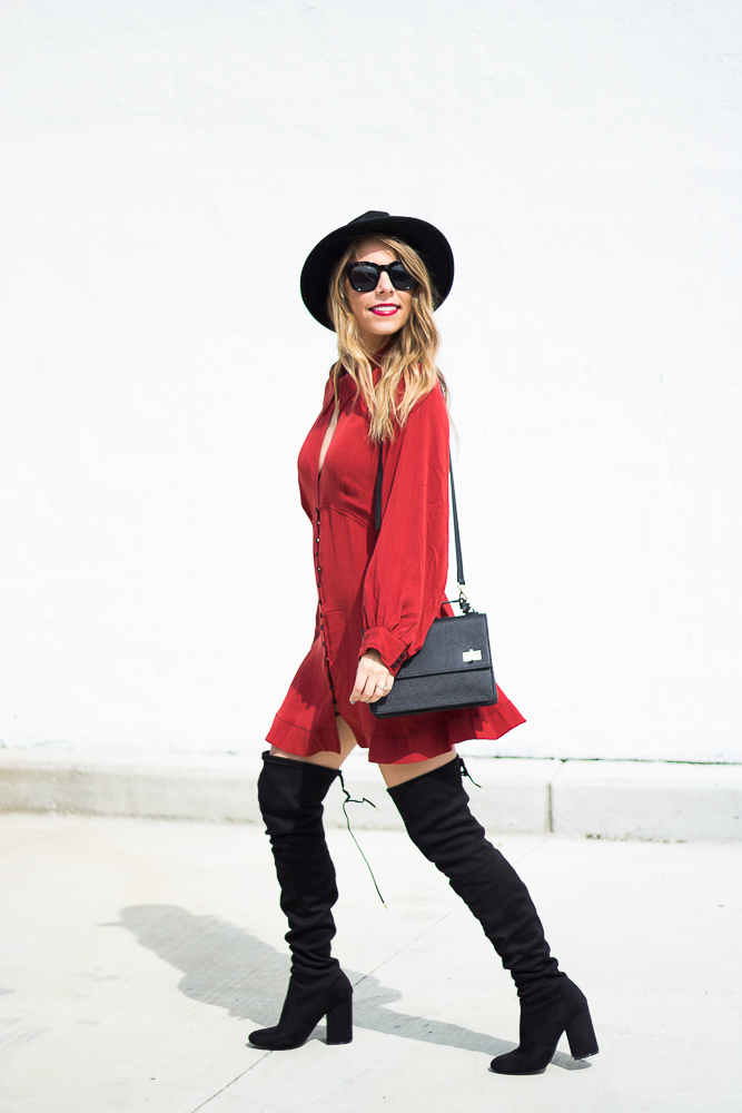 long sleeve red dress and over the knee boots with hat